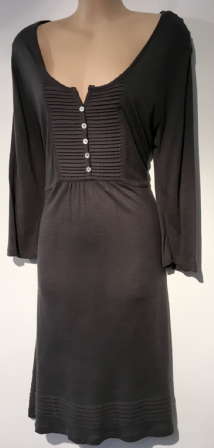 M&CO GREY BUTTON CHEST TUNIC DRESS SIZE L 14